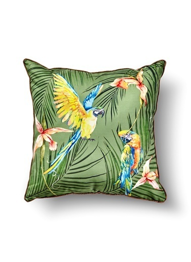 The Mia Tropik Yastık - Parrot Yeşil 50 x 50cm Renkli